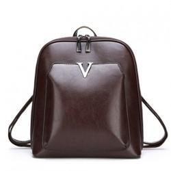 Luxurious vintage backpack - leather shoulder bag - with decorative V letter