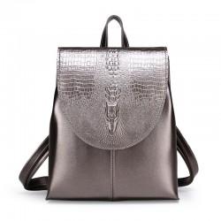 Fashionable leather backpack - shoulder bag - snakeskin pattern