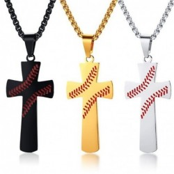 """Cross with baseball pattern - with necklace - """"I CAN DO ALL THINGS"""" engraving"""
