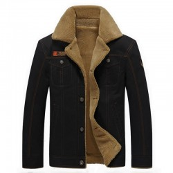 Military jacket with fur collar - cotton & fleece - warm & thick