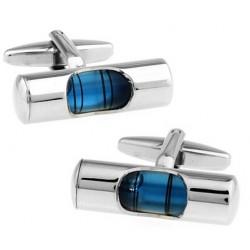 French Style Blue Liquid Water Leveller Men's Cufflinks