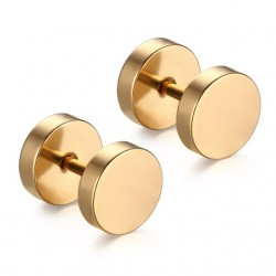 Round Dumbbell Stainless Steel Earrings