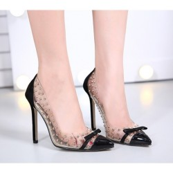 Transparent PVC Rivet Bow High Heel Pumps