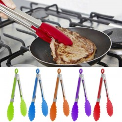 Stainless Steel Silicone Kitchen BBQ - Salad Bread Tong