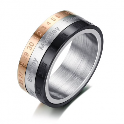 Rotatable 3 parts roman numerals ring