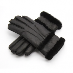 Genuine leather & cashmere & fur warm gloves