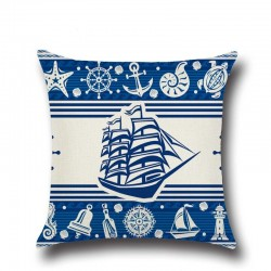 Anchor & boat - sea patterns - cushion cover - 43 * 43cm