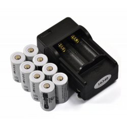 CR123A 16340 - 2200mAh 3.7V li-ion rechargeable battery 8 pcs & 16340 charger