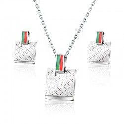 Square earrings & necklace - stainless steel jewelry set