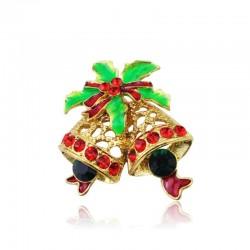 Christmas crystal brooch with jingle bell