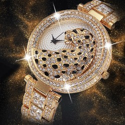 Luxury gold quartz watch with diamonds & leopard