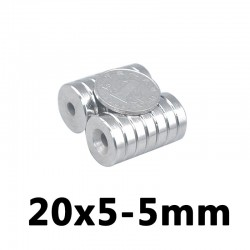 N35 neodymium countersunk magnet ring - 20 * 5 - 5mm hole - 5 pieces