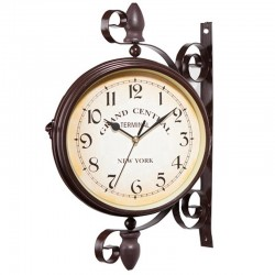Antique style station - double sided metal wall clock
