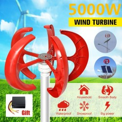 5000W AC 12V-24V - wind turbine generator - lantern - 5 blades motor - vertical axi - kit