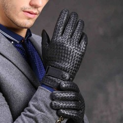 Genuine leather warm winter gloves